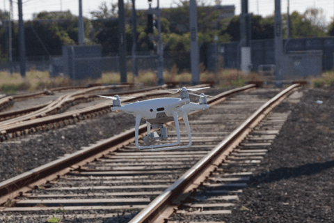 Remote track inspections using drones