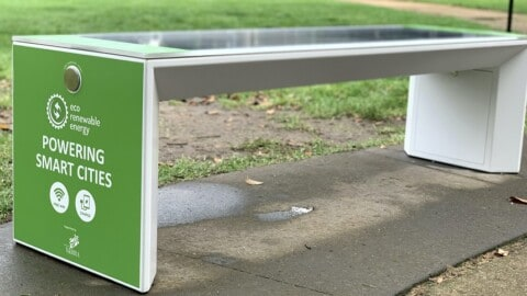 Smart benches provide free WIFI and charging