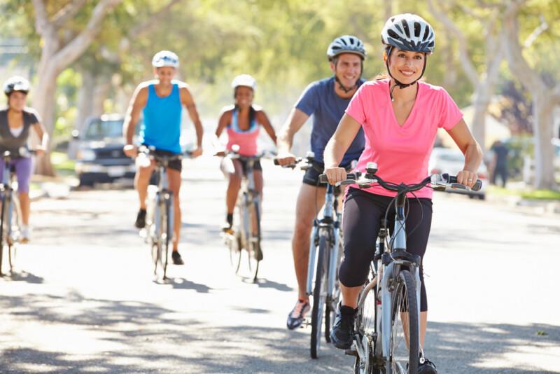cyclists on suburban road